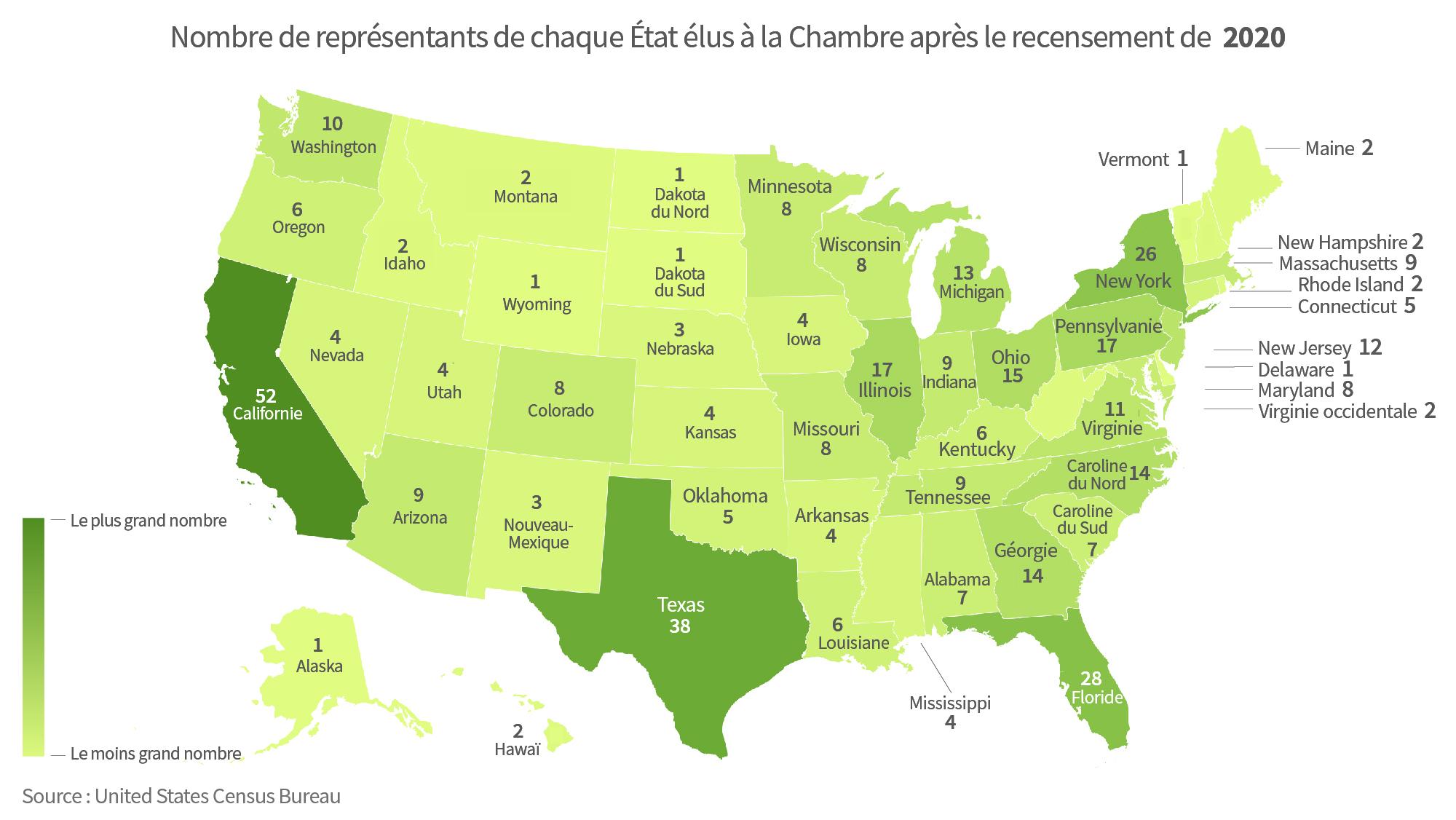 Carte montrant le nombre de membres de la Chambre des représentants dans chaque État en 2020 (Département d'État/S. Gemeny Wilkinson)
