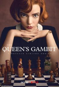 Poster yang menampilkan seorang perempuan duduk di depan papan catur (© BFA/Alamy)