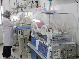 Женщина проверяет состояние младенцев в инкубаторе (Courtesy of Syrian American Medical Society/SAMS)