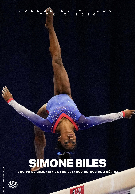 Simone Biles realiza una voltereta en la viga de equilibrio (Depto. de Estado. Foto: © Jeff Roberson/AP Images)