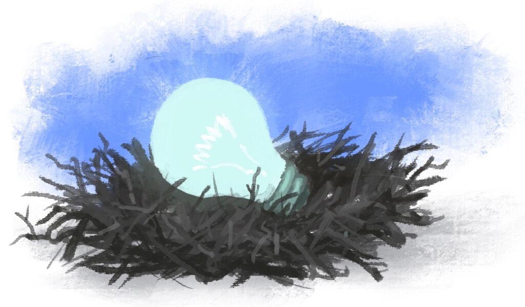 Ilustração de uma lâmpada incandescente em um ninho (Depto. de Estado/D. Thompson)