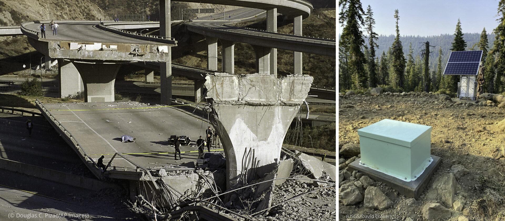 Foto kiri: Personel darurat berjalan di sekitar lokasi jalan layang bebas hambatan yang ambruk (© Douglas C. Pizac/AP Images) Foto kanan: Seismometer dan panel suryanya di tempat terbuka di hutan (USGS/David Croker)