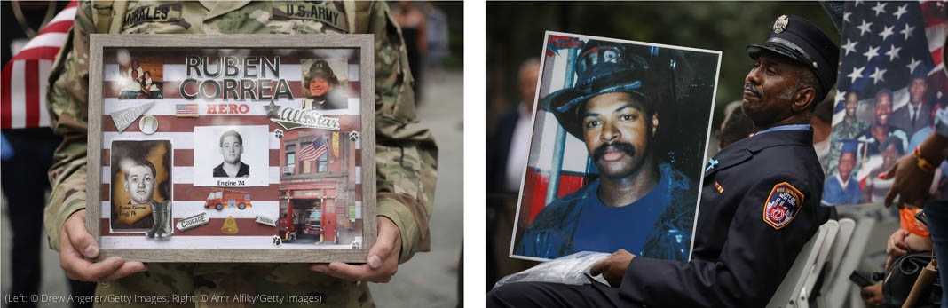 Left: Soldier holding tribute plaque with photos of fallen firefighter (© Drew Angerer/Getty Images). Right: Firefighter holding large photo of fallen firefighter (© Amr Alfiky /Getty Images)