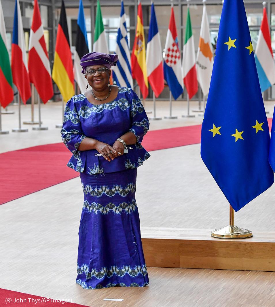 Mujer de pie ante una hilera de banderas (© John Thys/AP Images)
