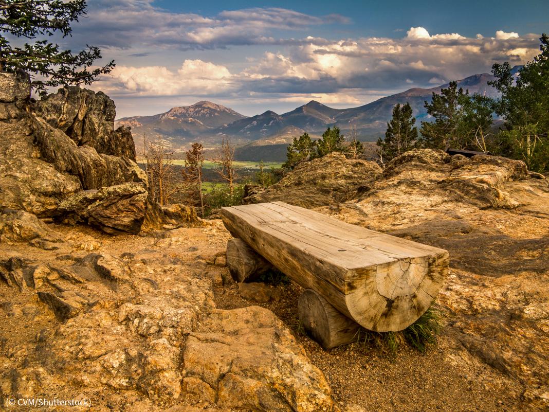 Tempat duduk yang terbuat dari tunggul pohon menghadap ke lembah dan pegunungan (© CVM/Shutterstock)