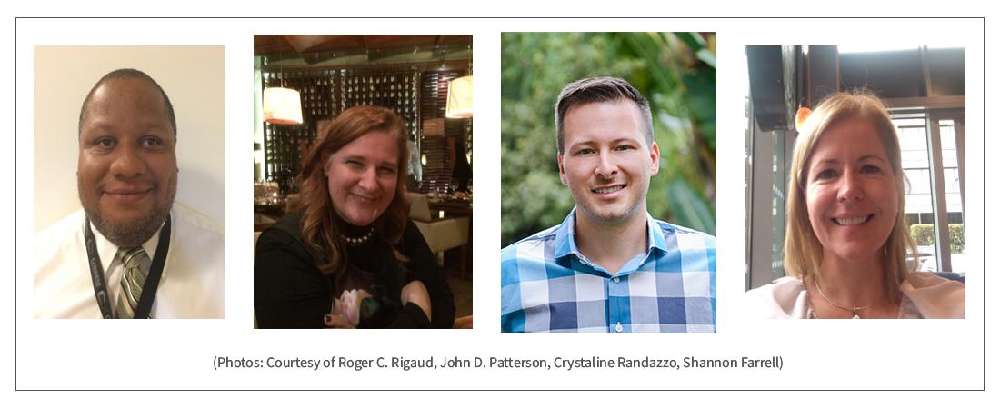 Montage photo de quatre personnes (Photos : avec l'aimable autorisation de Roger C. Rigaud, John D. Patterson, Crystaline Randazzo, Shannon Farrell)