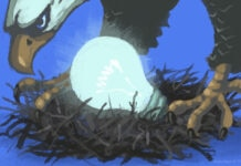 Ilustrasi seekor elang menjaga sarang berisi bola lampu yang menyala (Deplu AS/D. Thompson)