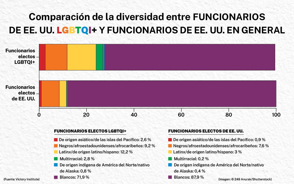 Gráfica informativa compara la diversidad entre funcionarios electos LGBTQI+ y funcionarios electos en general (Depto. de Estado/H. Efrem)