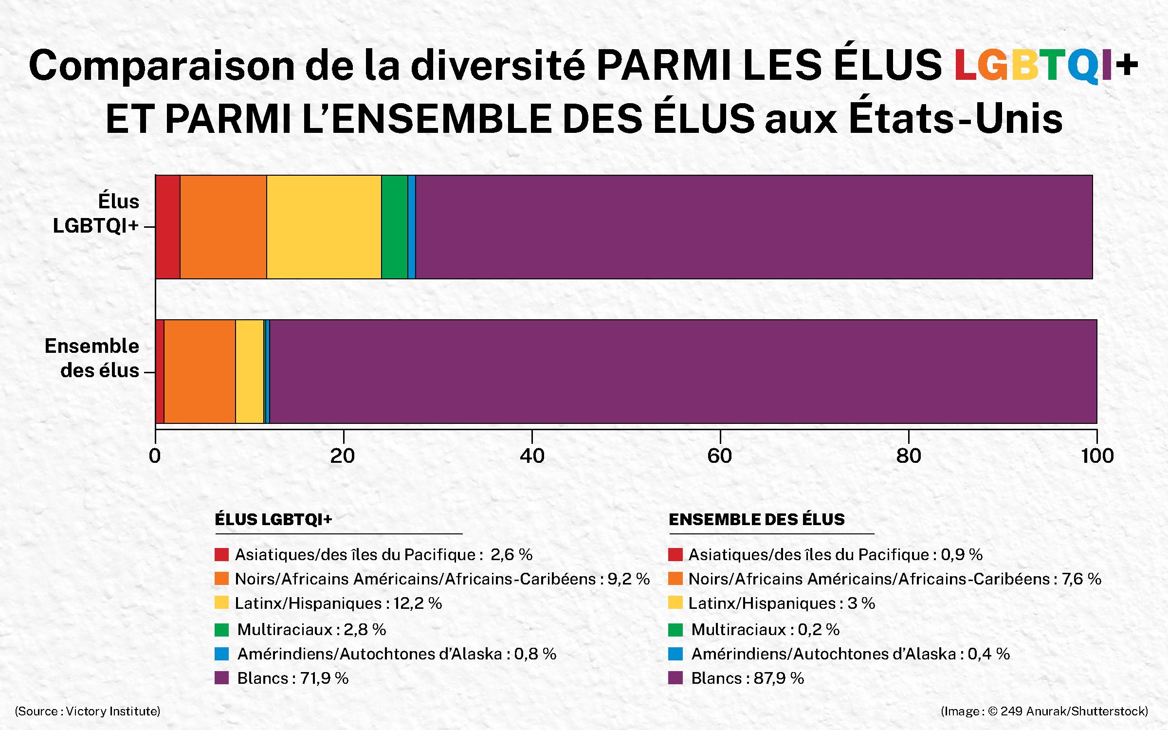 Infographie illustrant la différence de diversité parmi les élus LGBTQI+ et parmi l'ensemble des élus américains (Département d'Etat/H. Efrem)