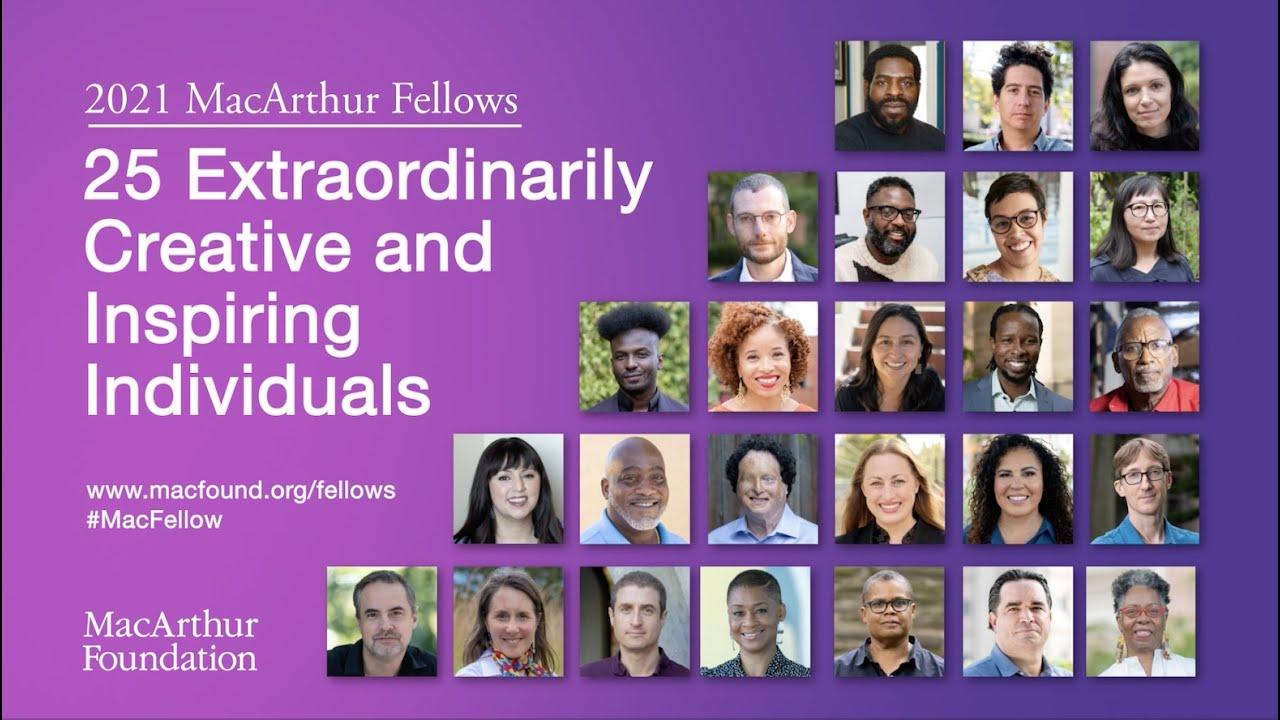 Captura de inicio de video en inglés con retratos de 25 de los ganadores de las subvenciones MacArthur (© Fundación John D. y Catherine T. MacArthur)