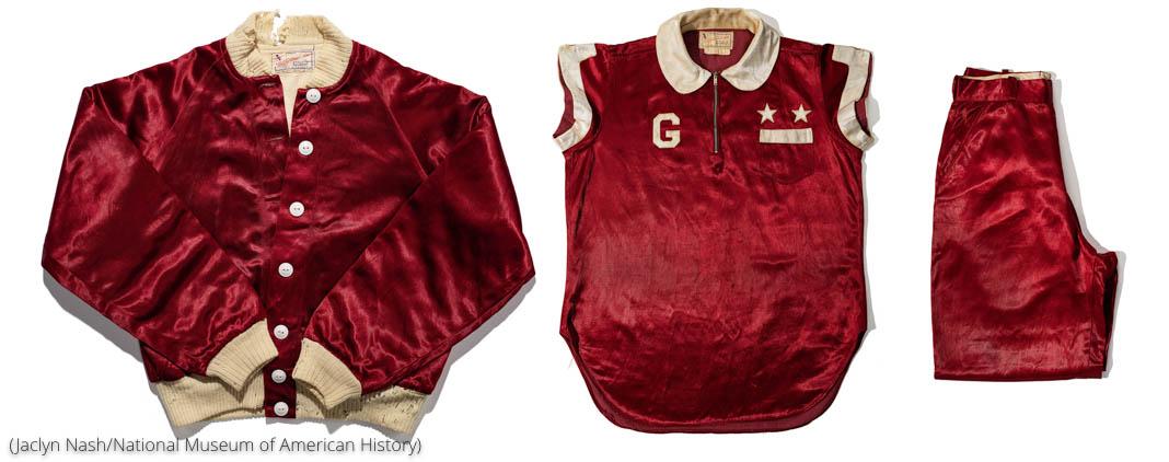Jacket, shirt and bottom of baseball uniform (Jaclyn Nash/National Museum of American History)