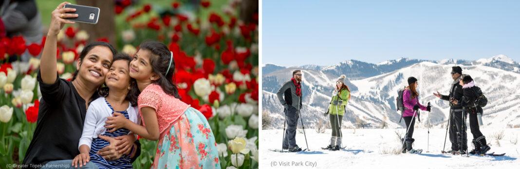عکس چپ: افرادی که جلوی لاله ها سلفی می گیرند(© Greater Topeka Partnership) عکس راست: افراد در حال برف نوردی (© Visit Park City)